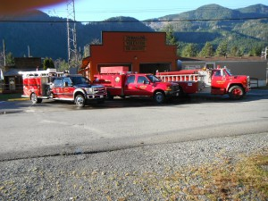 All Three Fire Trucks in Front Of Fire Hall